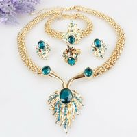 Gold Plated Crystal Necklace Bracelet Earrings Ring Set