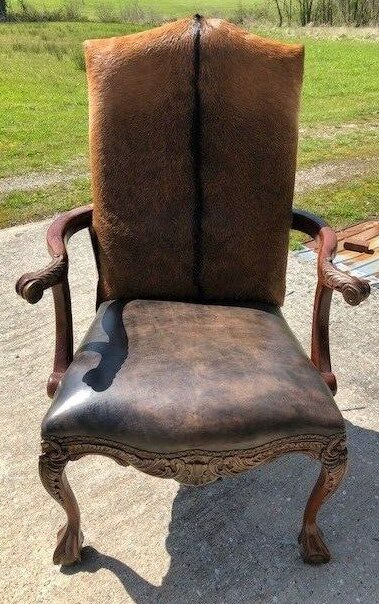fabric side chairs canoe walmart cowhide arm chair hair on hide western accent | ebay