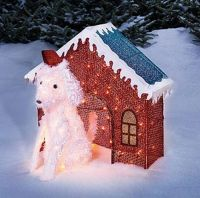Lighted Glitter Mesh Dog & Dog House Christmas Outdoor