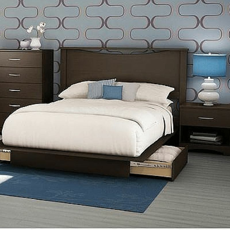 Full Queen Storage Platform Bed 4 Piece Bedroom Set