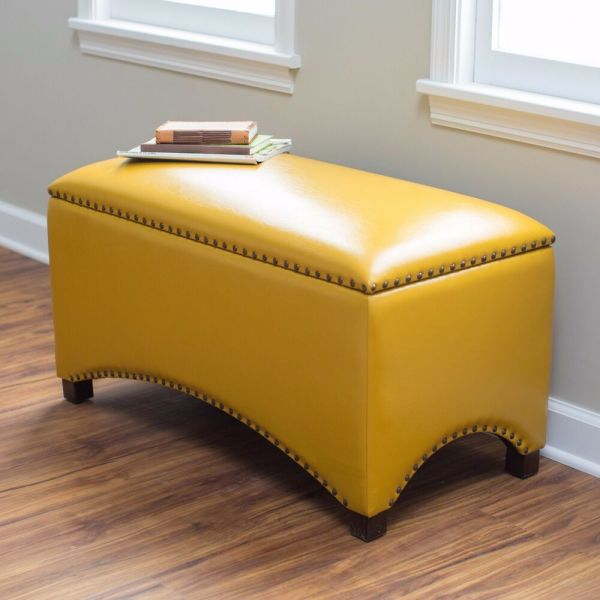 Storage Bench Seat Indoor Mustard Yellow Ottoman Flip Top Interior Leather