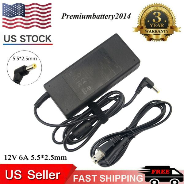 Lcd Ac Power Supply Adapter Dc 12 Volt 6 Amp 12v 6a With Tip 5.5mm 2.5mm