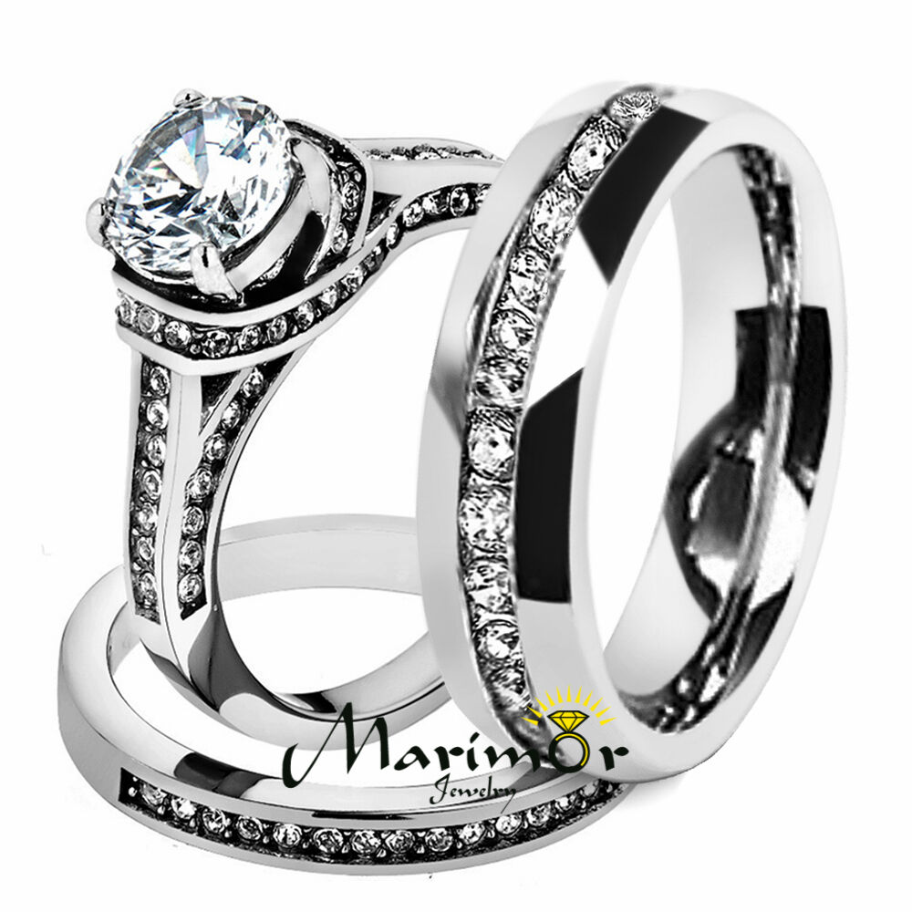 Hers  His Stainless Steel 3 Piece Cz Wedding Ring Set and Eternity Wedding Band  eBay