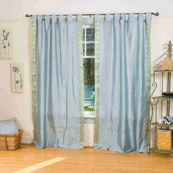 Gray Tab Top Sheer Sari Curtain Drape Panel - Piece