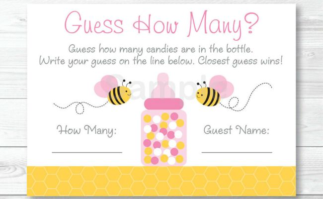 Pink Bumble Bee Printable Baby Shower Guess How Many