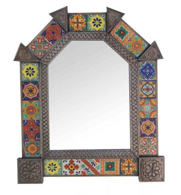 Mexican Punched Arch Tin Mirror Mixed Talavera Tile