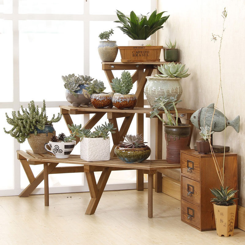 3 Tier Fir Wood Conner Flower Pot Rack Step Style Plant