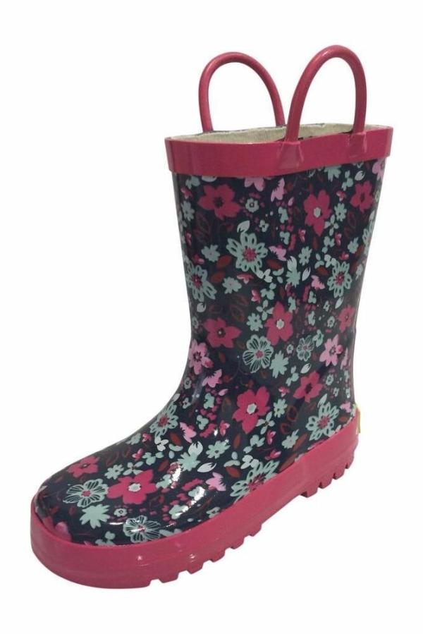 SIYA Toddler Little Girls Flower Black Pink Rain Boots