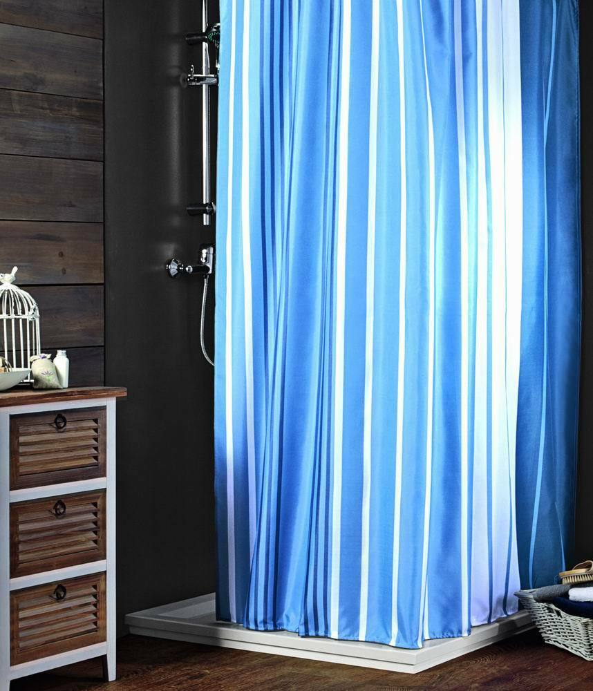 Striped Fabric Shower Curtain Color Blue White  eBay