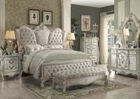 Traditional Antique Ivory Velvet Queen King Bed For Luxury ...