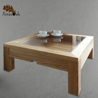 Display Coffee Table Glass Wood Solid Oak Modern Square UK ...