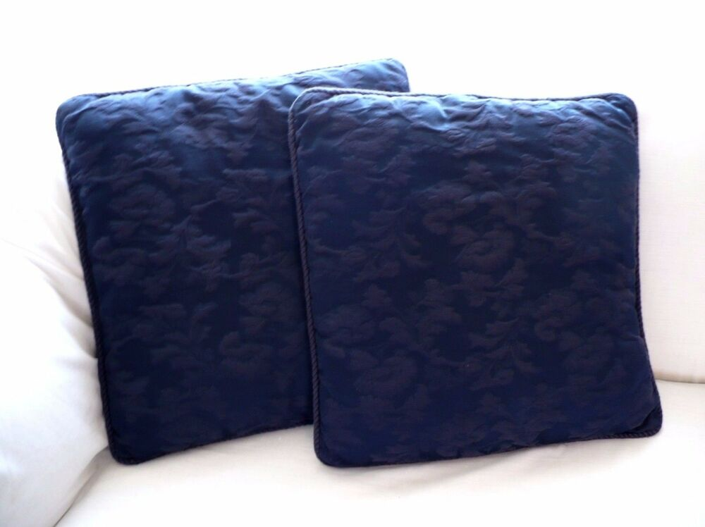 Set of 2 Navy Blue Embossed Floral Print Pattern Couch Bed