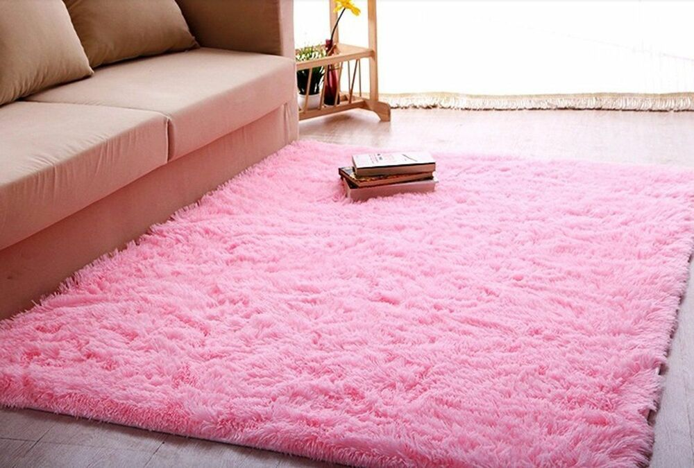 ltra Soft 45 Cm Thick Indoor Morden Area Rug Baby Pink Girls Shag 4 x 5  eBay