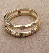 14KT Yellow Gold Diamond Wedding Anniversary Ring Guard ...