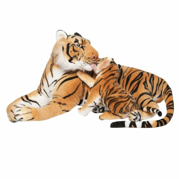 Brubaker Brown Plush Tiger With Baby 40 Soft Toy