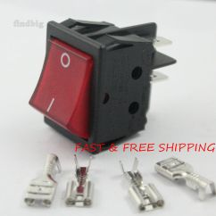 Lighted Rocker Switch Wiring Diagram Honda Xrm Canal R Series Red Illuminated Double Pole 20a 16a 4 Pin | Ebay