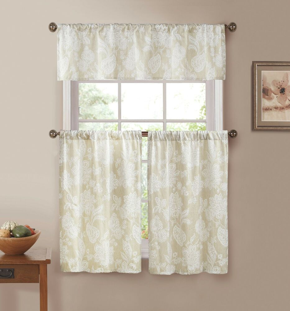 Ivory with White Floral Print Country Kitchen Curtains  eBay