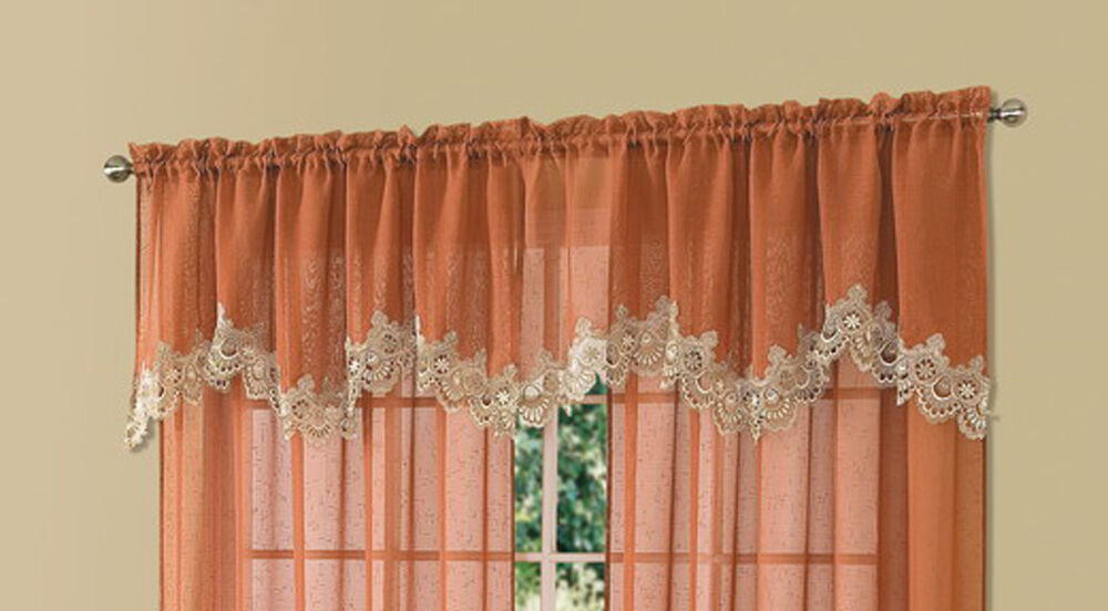 Cavalier Terra Rust Sheer Scalloped Macrame Lace Trim