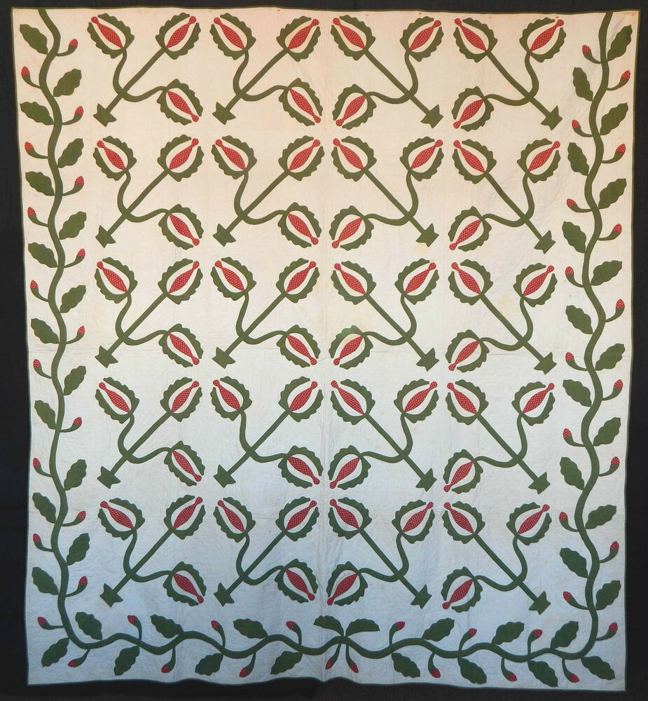 Antique 1850 Red And Green Applique Love Apple Quilt EBay