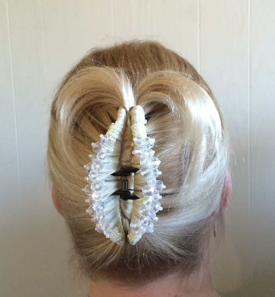 WHITE IVORY HAIR BARRETTE JAW CLIP CLAW LARGE 4longw