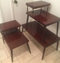Mid Century Modern Coffee Table & Pair End Step Tables 3 ...