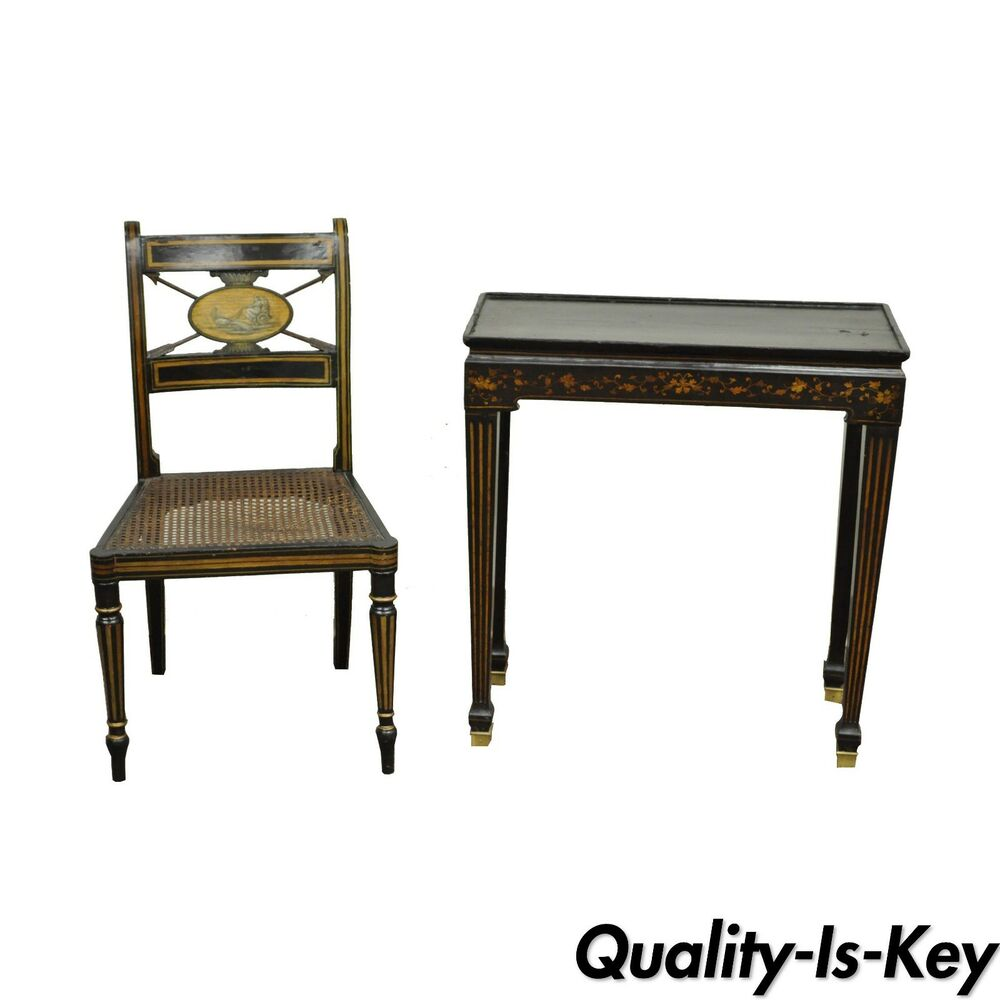 Antique Neoclassical Black Lacquered Desk Telephone Table