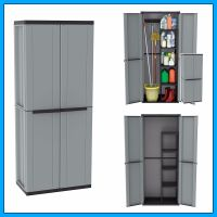 Outdoor Utility Cabinet 2 Door Plastic Cupboard Shelves