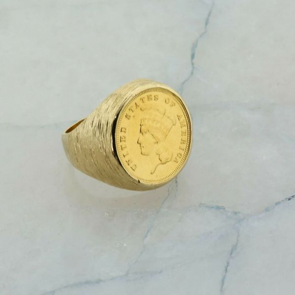 14k Yellow Gold Men' Coin Ring With 1882 3 Dollar