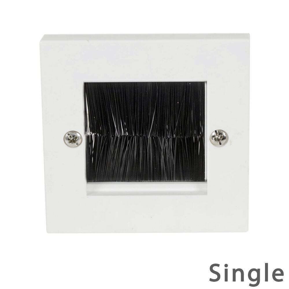 Single White Gang Brush Wall Socket Cable Tidy Entry Plate
