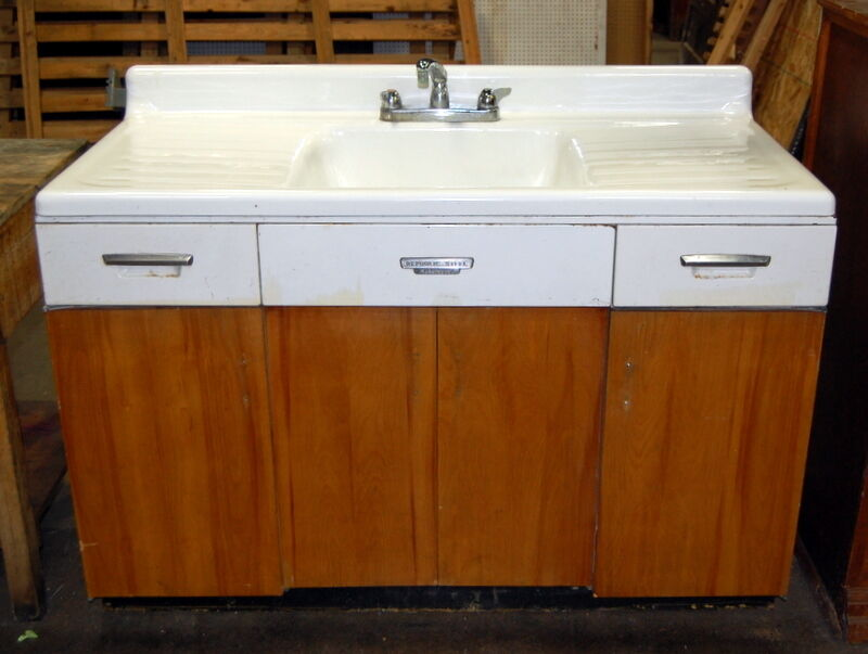 Antique Cast Iron Farmhouse Sink with Wood  Metal Base Vintage Plumbing  eBay