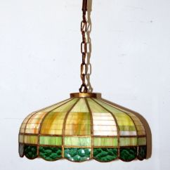 Kitchen Ceiling Light Fixture Appliances Brooklyn Antique 1930s Stained Glass Hanging Fixture, Vintage ...