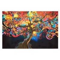 Psychedelic Trippy Tree Abstract Art Silk Fabric Cloth ...