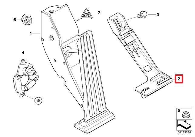 Genuine BMW E46 Coupe Adapter plate Accelerator Pedal