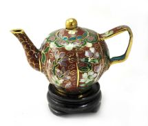 Vintage Chinese Cloisonne Miniature Copper Metal Teapot