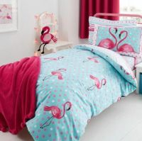 Bright Flamingo Polka Dot DOUBLE Duvet Cover Aqua Pink ...