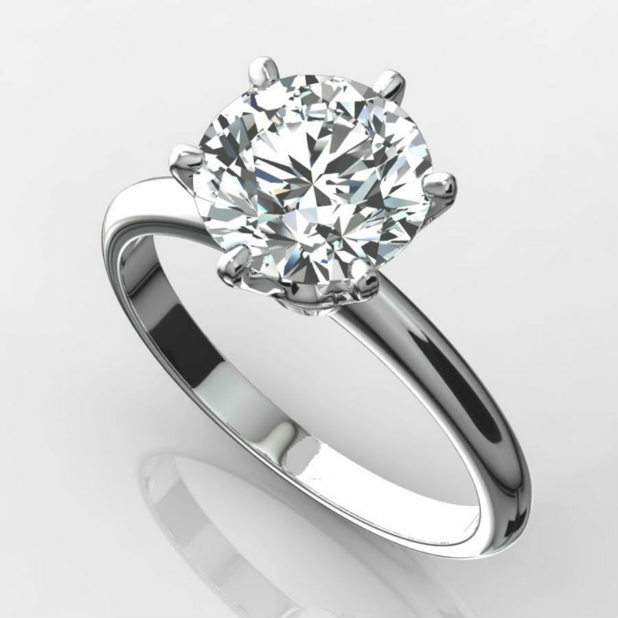 DIAMOND SOLITAIRE RING 2 CARAT ROUND VS1 F EXCELLENT CUT 14K WHITE GOLD 6 PRONG  eBay