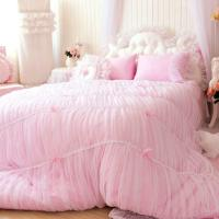 Princess Shabby Chic Floral Pink Lace Duvet Comforter