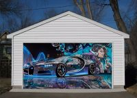 York Street Garage. 3D Beauty Car Garage Door Murals Wall