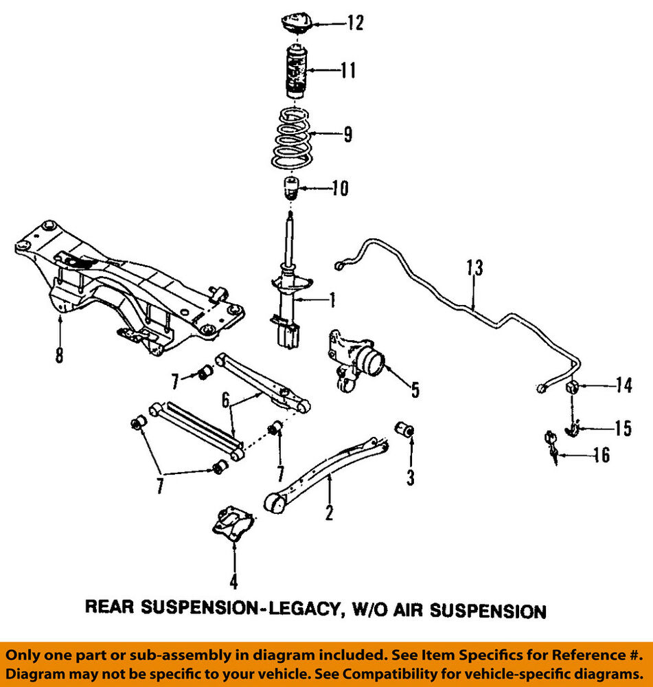 hight resolution of details about subaru oem 90 99 legacy rear suspension link bushing 20251aa000