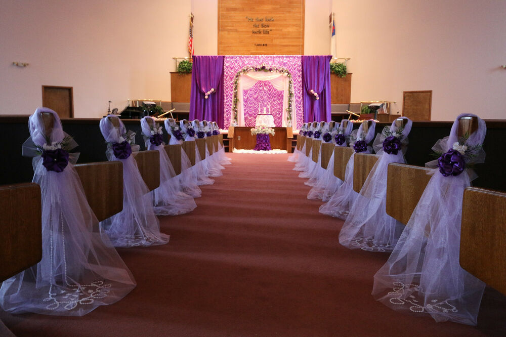 cheap church chairs custom event chair covers purple wedding decorations, bows, pew satin, aisle decor. | ebay