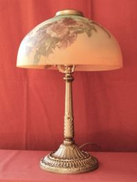 1930s ART NOUVEAU LAMP W/ REVERSE PAINTED SHADE