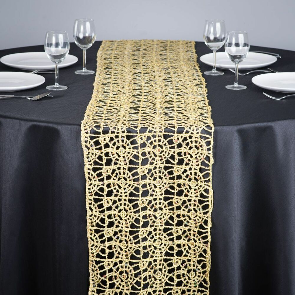 Gold Chemical Lace Sequin Table Runner 14 X 108 Inch Made