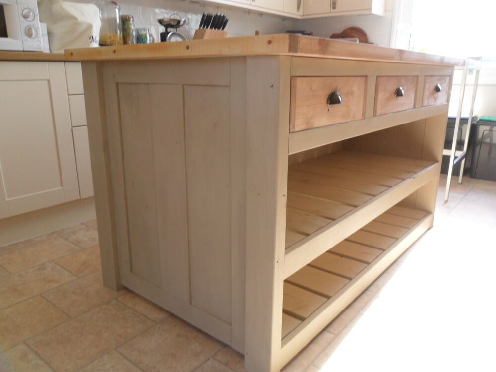 Rustic Chunky Solid Pine Kitchen Island  Breakfast bar