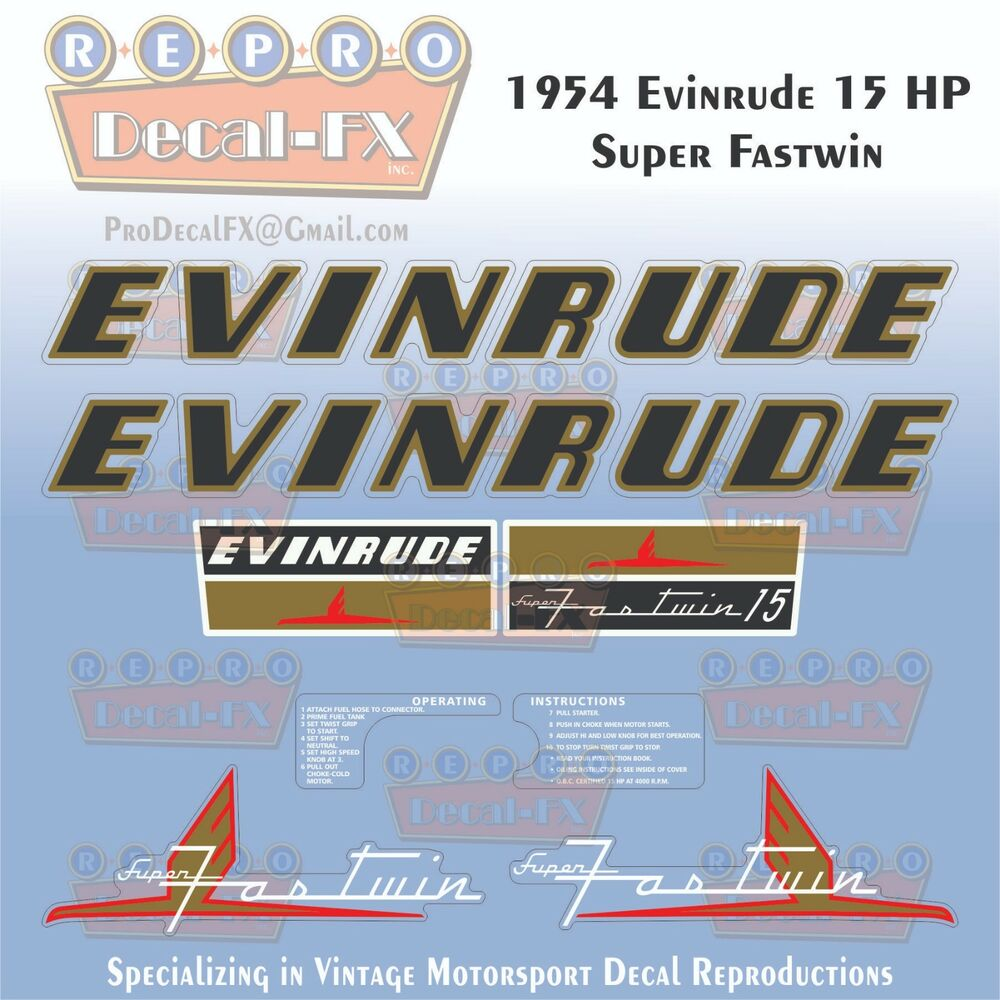 hight resolution of details about 1954 evinrude 15 hp super fastwin outboard repro 8 pc vinyl decals 15012 15013