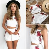 Women's Two Piece Bodycon Romper Crop Top Shorts Jumpsuit ...