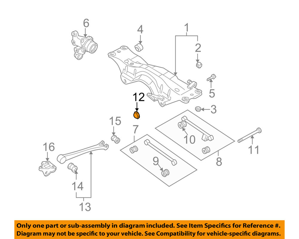 hight resolution of details about subaru oem 93 07 impreza rear suspension end cap 20530aa020