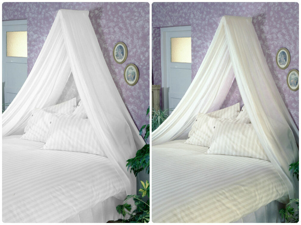 Adult Bed Canopy Inc Voile & Wall Rod Kit White Cream Fits