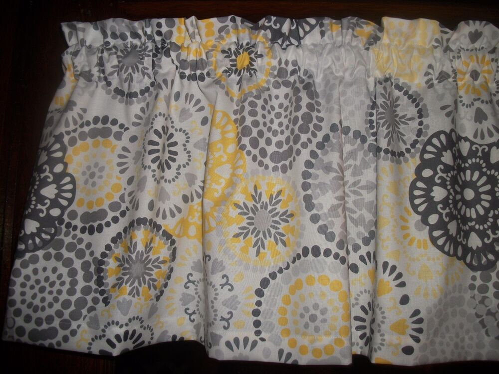 waverly kitchen curtains undercounter trash can gray yellow circle polka dot retro fabric ...