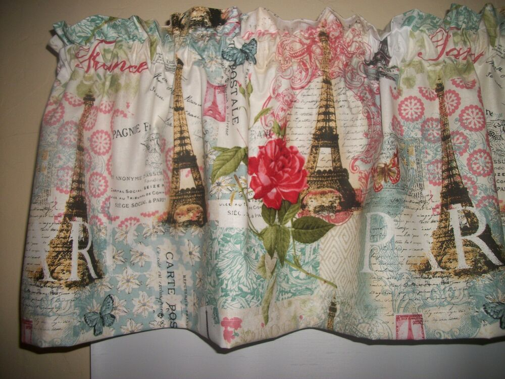 Paris Eiffel Tower French Butterfly Teal Fabric Bedroom Curtain Topper Valance EBay