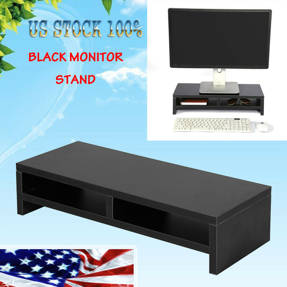 Computer Monitor Stand Desk Table 2 Tier Shelves Laptop